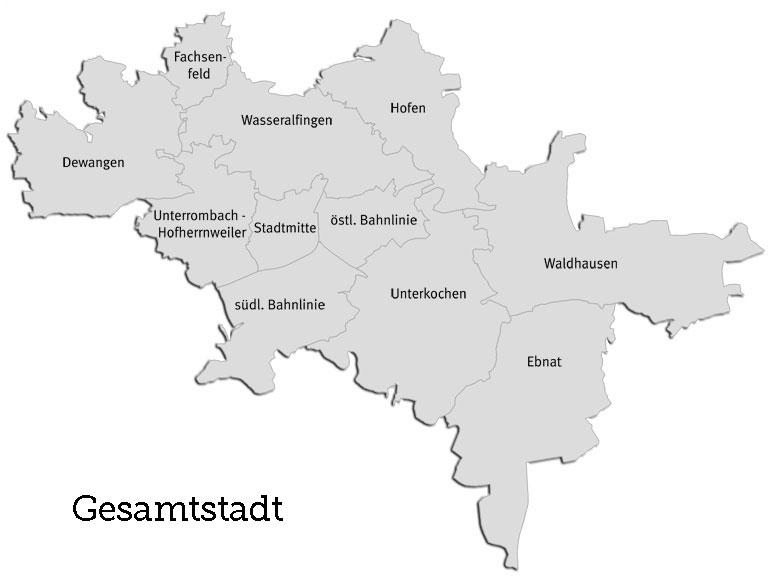 Karte der Stadtteile von Aalen