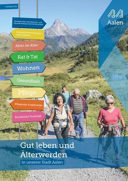 Auf diesem Bild ist das Deckblatt der Broschüre der Stadt Aalen zum Thema Älterwerden zu sehen