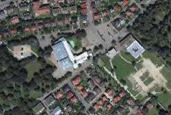 Luftbild der Stadthalle