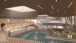 Auf diesem Bild ist eine Visualisierung des neuen Aalener Kombibades zu sehen.
