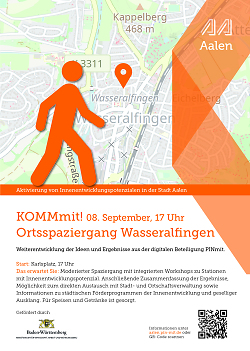 """Auf diesem Bild ist der Flyer zur Aktion """"Pinmit"""", einem Bürgerbeteiligungsformat der Stadt Aalen, für Wasseralfingen zu sehen."""