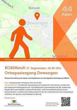 """Auf diesem Bild ist der Flyer zur Aktion """"Pinmit"""", einem Bürgerbeteiligungsformat der Stadt Aalen, für Dewangen zu sehen."""
