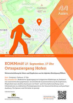 """Auf diesem Bild ist der Flyer zur Aktion """"Pinmit"""", einem Bürgerbeteiligungsformat der Stadt Aalen, für Hofen zu sehen."""