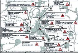 Auf diesem Bild ist der aktuelle Baustellenplan für Aalen im August 2021 zu sehen.