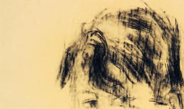Selbstbildnis, Kohle auf Papier, 1951