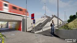 Auf diesem Bild ist ein Rendering des Bahnhalts Aalen West zu sehen. Dieses zeigt, wie der neue Haltepunkt in Zukunft aussehen könnte - Unterführung, Treppe und Rampe für Räder.