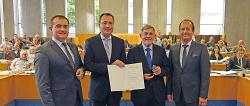 l.n.r. Erster Bürgermeister Wolfgang Steidle, Oberbürgermeister Thilo Rentschler, Stadtrat Bernhard Ritter und Bürgermeister Karl-Heinz Ehrmann.
