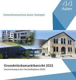 Auf diesem Bild ist das Titelblatt zum Grundstücksmarktbericht 2021 zu sehen.