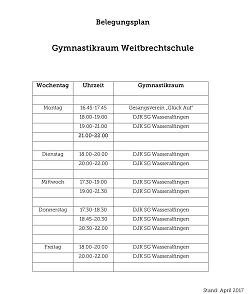 Belegungsplan Gymnastikraum Weitbrechtschule