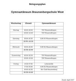 Belegungsplan Gymnastikraum West