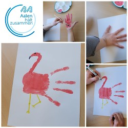 Handabdruck Anleitung Flamingo