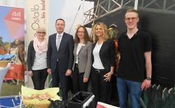 v.l.n.r.: Jana Pressel (Stadt Aalen), Oberbürgermeister Thilo Rentschler, Andrea Hahn (Landratsamt Ostalbkreis), Heike Mall (Innovationszentrum Aalen), Dominik Maier (Geschäftsführer Landario)