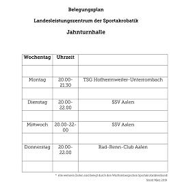 Belegungsplan Jahnturnhalle/Landesleistungszentrum Sportakrobatik