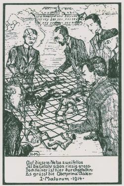 Hommage der Abitursklasse 1914 an ihre Lehrer des Realgymnasiums Aalen