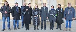 OB Thilo Rentschler begrüßte gemeinsam mit Leni Breymaier und Margit Stumpp die Vorsitzende des Kulturausschusses des Bundestags, Katrin Budde, im Rohbau des Kulturbahnhofs.