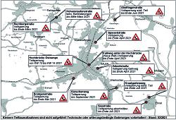 Aktueller Baustellenplan für  das Stadtgebiet Aalen für den Monat März