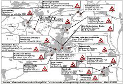 Aktueller Baustellenplan für  das Stadtgebiet Aalen für den Monat April