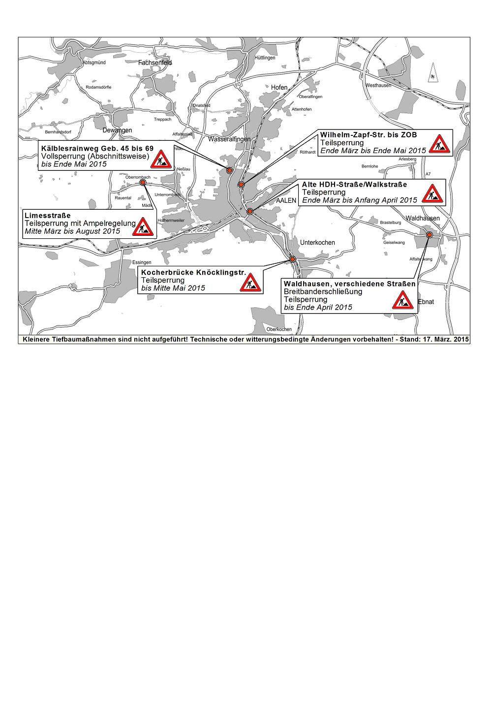 aktueller baustellenplan der stadt aalen für märz 2015 - stadt aalen