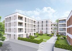 Visualisierung des Neubauprojekts von Weisenburger auf dem Stadtoval.