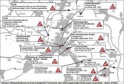 Auf diesem Bild ist der aktuelle Baustellenplan für Aalen im Juli 2021 zu sehen.