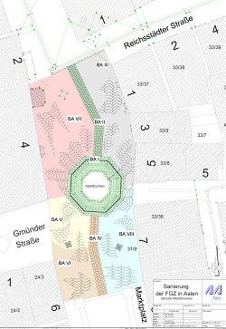 Pflastersanierung rund um den Marktbrunnen - Plan mit Bauabschnitten