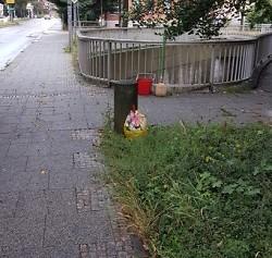 Der Tatort wilder Müllablagerung in der Friedrichstraße.