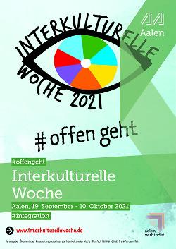 Auf diesem Bild ist das Plakat zu den Interkulturellen Wochen Aalen 2021 zu sehen.