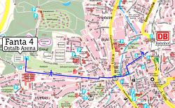 Fußweg vom Bahnhof zur Ostalb Arena