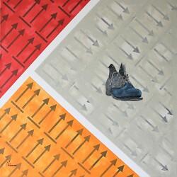 """Auf diesem Bild ist eines der Werke von Rolf Thuma mit dem Titel """"Wer nicht mit der Zeit geht, geht mit der Zeit"""" zu sehen."""