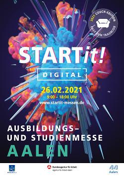 Auf diesem Bild ist das Plakat zur Ausbildungsmesse Startit in Aalen zu sehen.