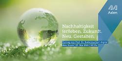 Auf diesem Bild ist der Flyer zum Vortrag von Professor Radermacher zu sehen.