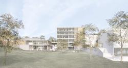 Waldcampus Ansicht von Westen: Mensa und Fakultätsgebäude