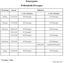 Belegungsplan Wellandhalle Dewangen
