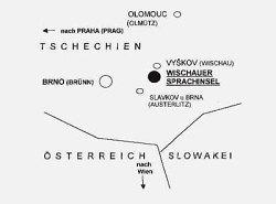 Die Lage der Wischauer Sprachinsel