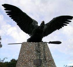 The Turul bird sculpture high above Tatabánya